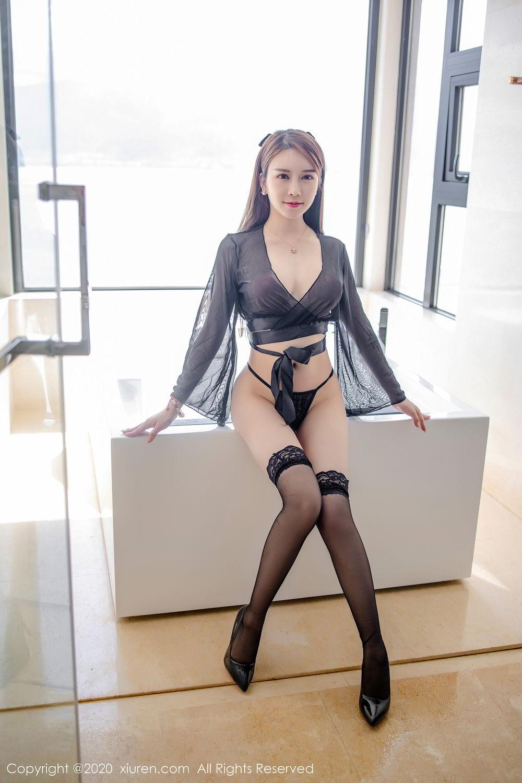 [XiuRen] Vol.2292 Yu Tu Miki 18P, Black Silk, Underwear, Xiuren, Yu Tu M I K I