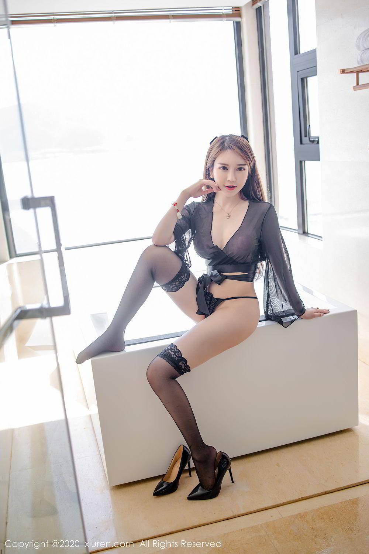 [XiuRen] Vol.2292 Yu Tu Miki 20P, Black Silk, Underwear, Xiuren, Yu Tu M I K I