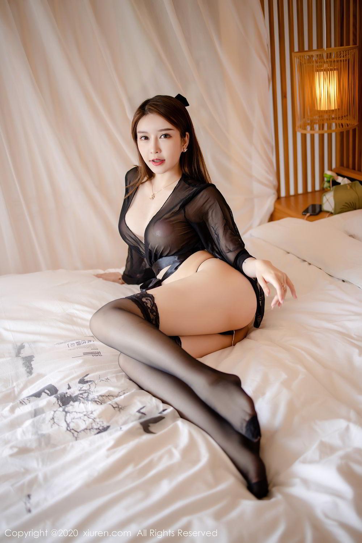 [XiuRen] Vol.2292 Yu Tu Miki 26P, Black Silk, Underwear, Xiuren, Yu Tu M I K I