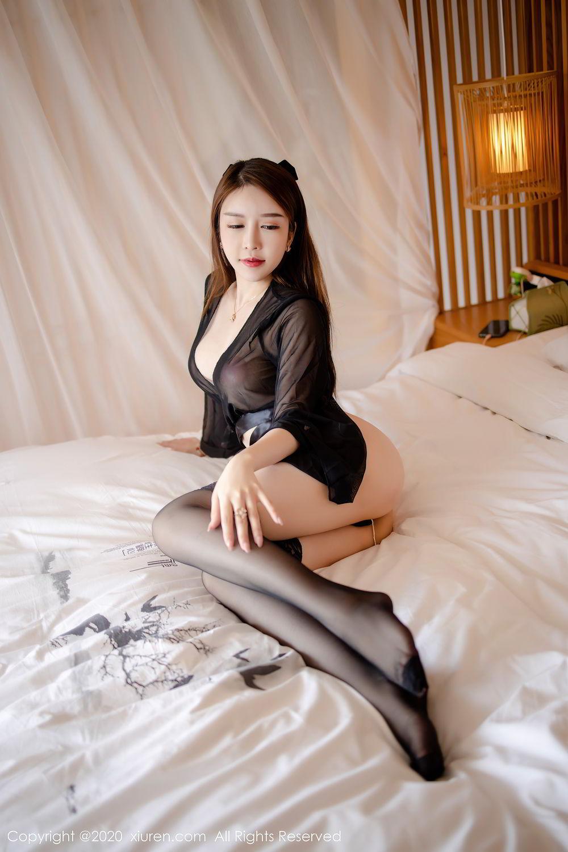 [XiuRen] Vol.2292 Yu Tu Miki 2P, Black Silk, Underwear, Xiuren, Yu Tu M I K I