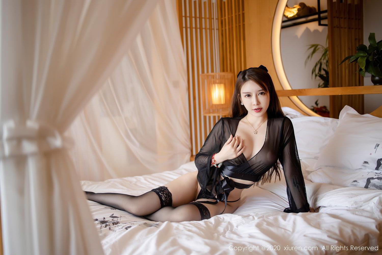 [XiuRen] Vol.2292 Yu Tu Miki 5P, Black Silk, Underwear, Xiuren, Yu Tu M I K I
