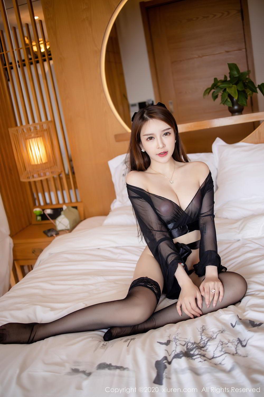 [XiuRen] Vol.2292 Yu Tu Miki 7P, Black Silk, Underwear, Xiuren, Yu Tu M I K I