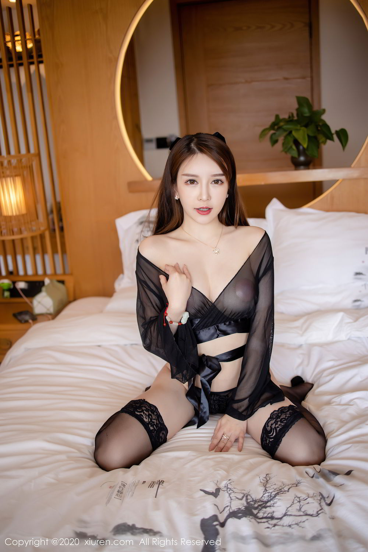 [XiuRen] Vol.2292 Yu Tu Miki 8P, Black Silk, Underwear, Xiuren, Yu Tu M I K I