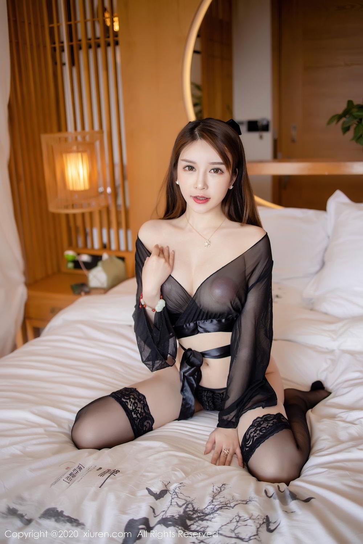 [XiuRen] Vol.2292 Yu Tu Miki 9P, Black Silk, Underwear, Xiuren, Yu Tu M I K I