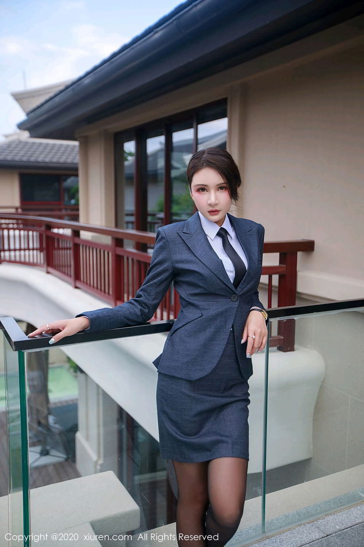 [XiuRen] Vol.2309 Gu Nai Nai 12P, Black Silk, Solo Yi Fei, Uniform, Xiuren