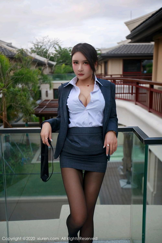 [XiuRen] Vol.2309 Gu Nai Nai 16P, Black Silk, Solo Yi Fei, Uniform, Xiuren