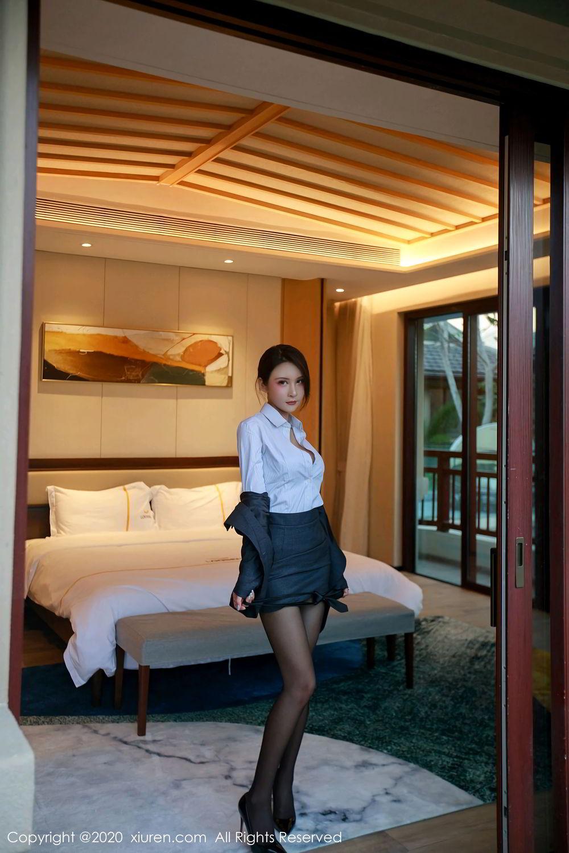 [XiuRen] Vol.2309 Gu Nai Nai 18P, Black Silk, Solo Yi Fei, Uniform, Xiuren