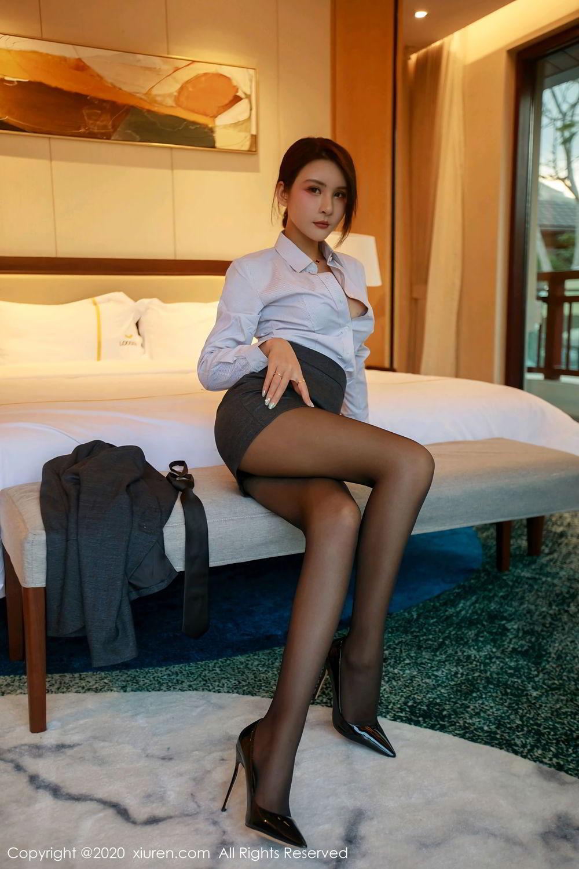 [XiuRen] Vol.2309 Gu Nai Nai 21P, Black Silk, Solo Yi Fei, Uniform, Xiuren