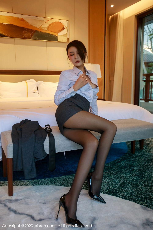 [XiuRen] Vol.2309 Gu Nai Nai 22P, Black Silk, Solo Yi Fei, Uniform, Xiuren