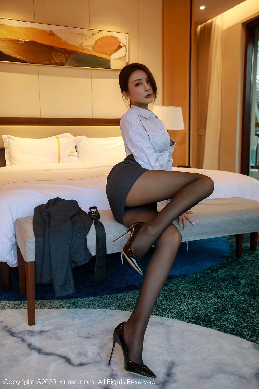 [XiuRen] Vol.2309 Gu Nai Nai 26P, Black Silk, Solo Yi Fei, Uniform, Xiuren