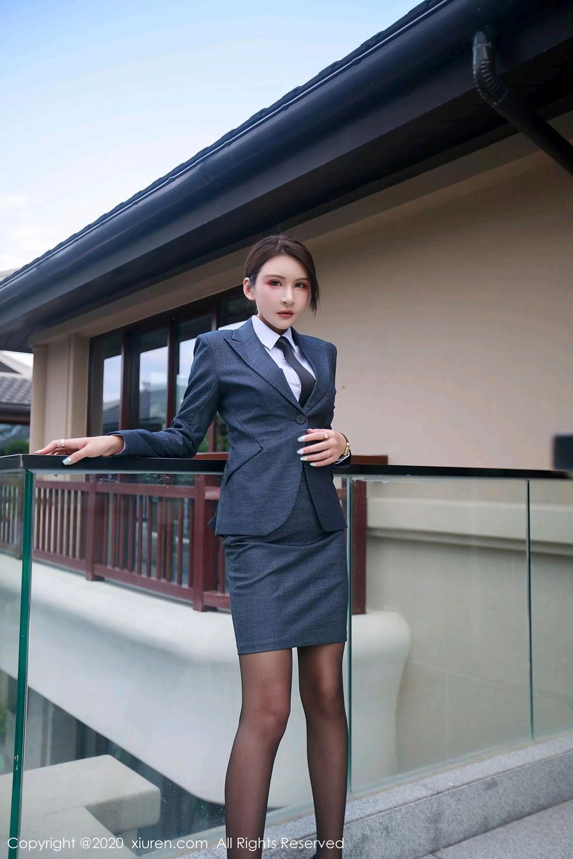 [XiuRen] Vol.2309 Gu Nai Nai 34P, Black Silk, Solo Yi Fei, Uniform, Xiuren