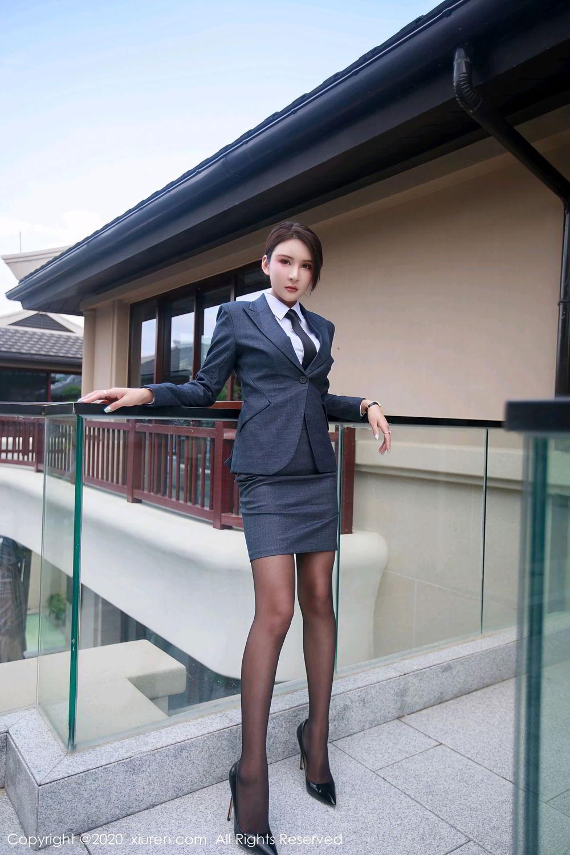 [XiuRen] Vol.2309 Gu Nai Nai 45P, Black Silk, Solo Yi Fei, Uniform, Xiuren