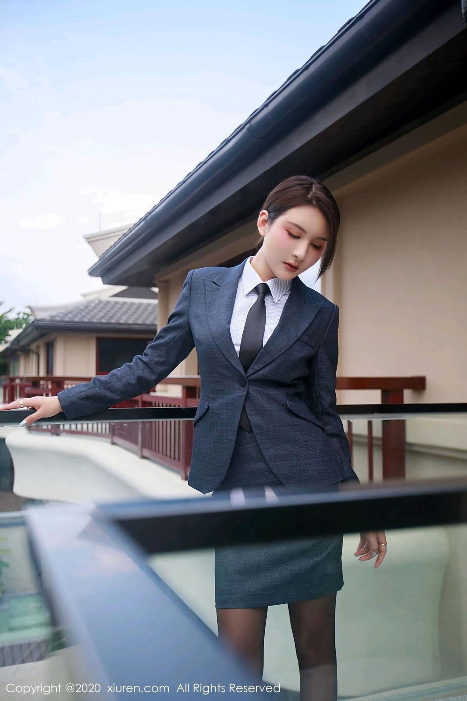 [XiuRen] Vol.2309 Gu Nai Nai 56P, Black Silk, Solo Yi Fei, Uniform, Xiuren