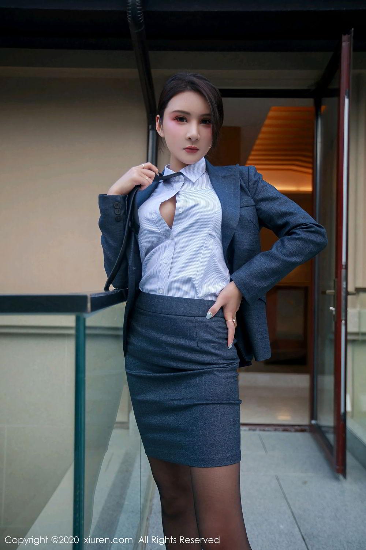 [XiuRen] Vol.2309 Gu Nai Nai 5P, Black Silk, Solo Yi Fei, Uniform, Xiuren