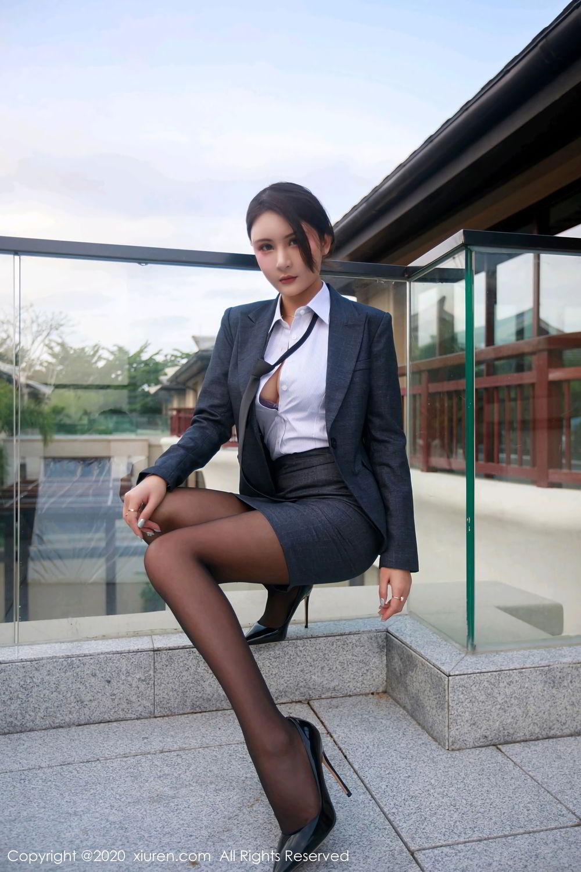 [XiuRen] Vol.2309 Gu Nai Nai 9P, Black Silk, Solo Yi Fei, Uniform, Xiuren