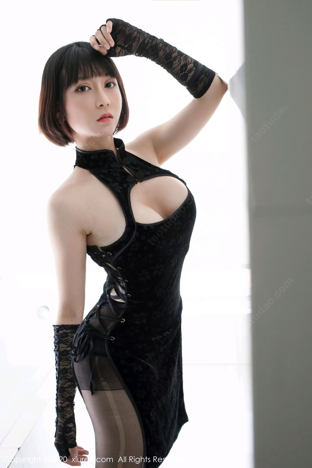 [XiuRen] Vol.2318 An Ni Si Duo La 11P, An Ni Si Duo La, Black Silk, Cheongsam, Xiuren