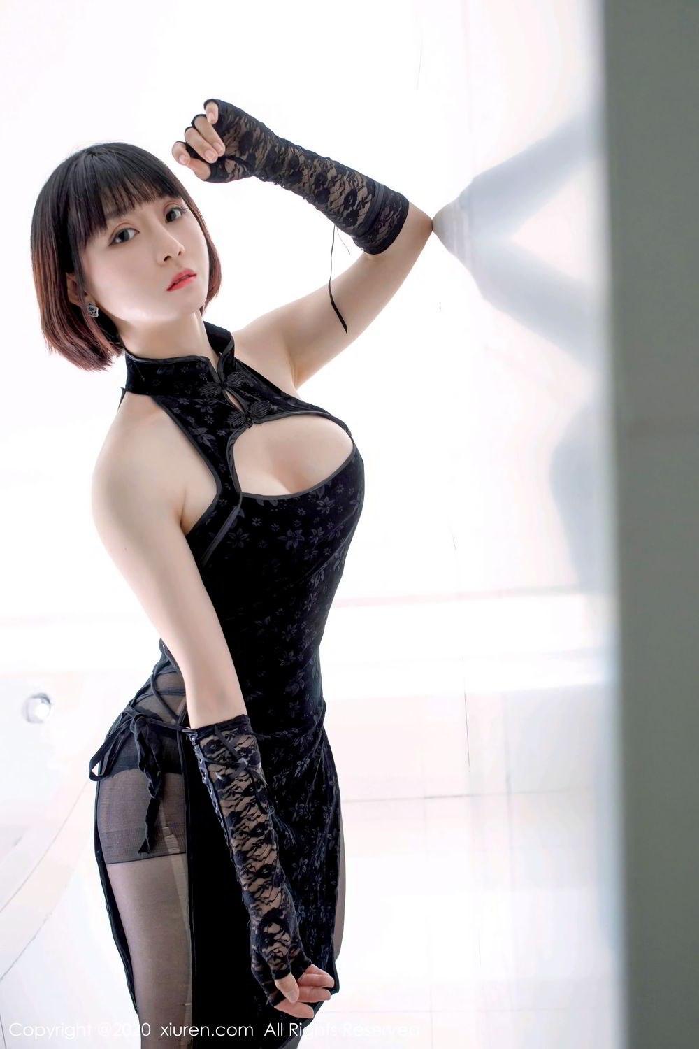 [XiuRen] Vol.2318 An Ni Si Duo La 13P, An Ni Si Duo La, Black Silk, Cheongsam, Xiuren