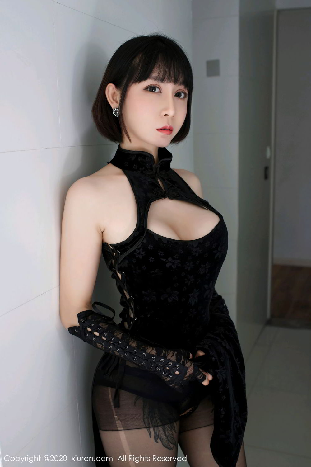 [XiuRen] Vol.2318 An Ni Si Duo La 14P, An Ni Si Duo La, Black Silk, Cheongsam, Xiuren