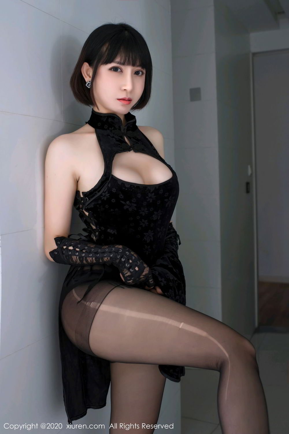 [XiuRen] Vol.2318 An Ni Si Duo La 15P, An Ni Si Duo La, Black Silk, Cheongsam, Xiuren