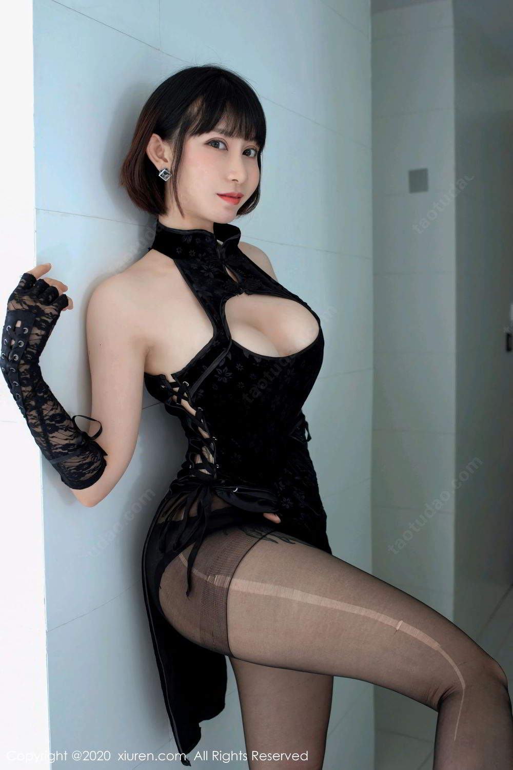[XiuRen] Vol.2318 An Ni Si Duo La 16P, An Ni Si Duo La, Black Silk, Cheongsam, Xiuren