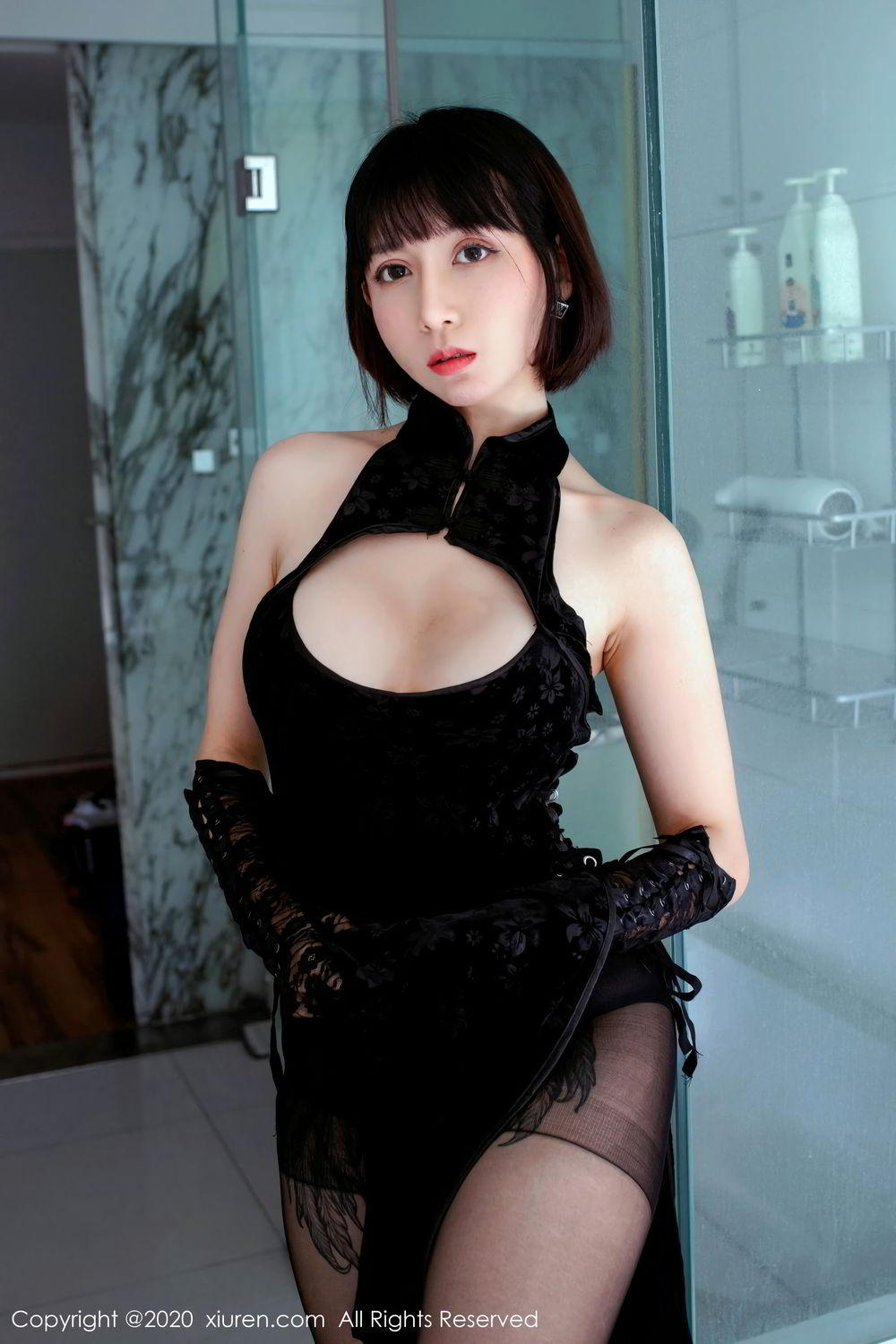 [XiuRen] Vol.2318 An Ni Si Duo La 17P, An Ni Si Duo La, Black Silk, Cheongsam, Xiuren