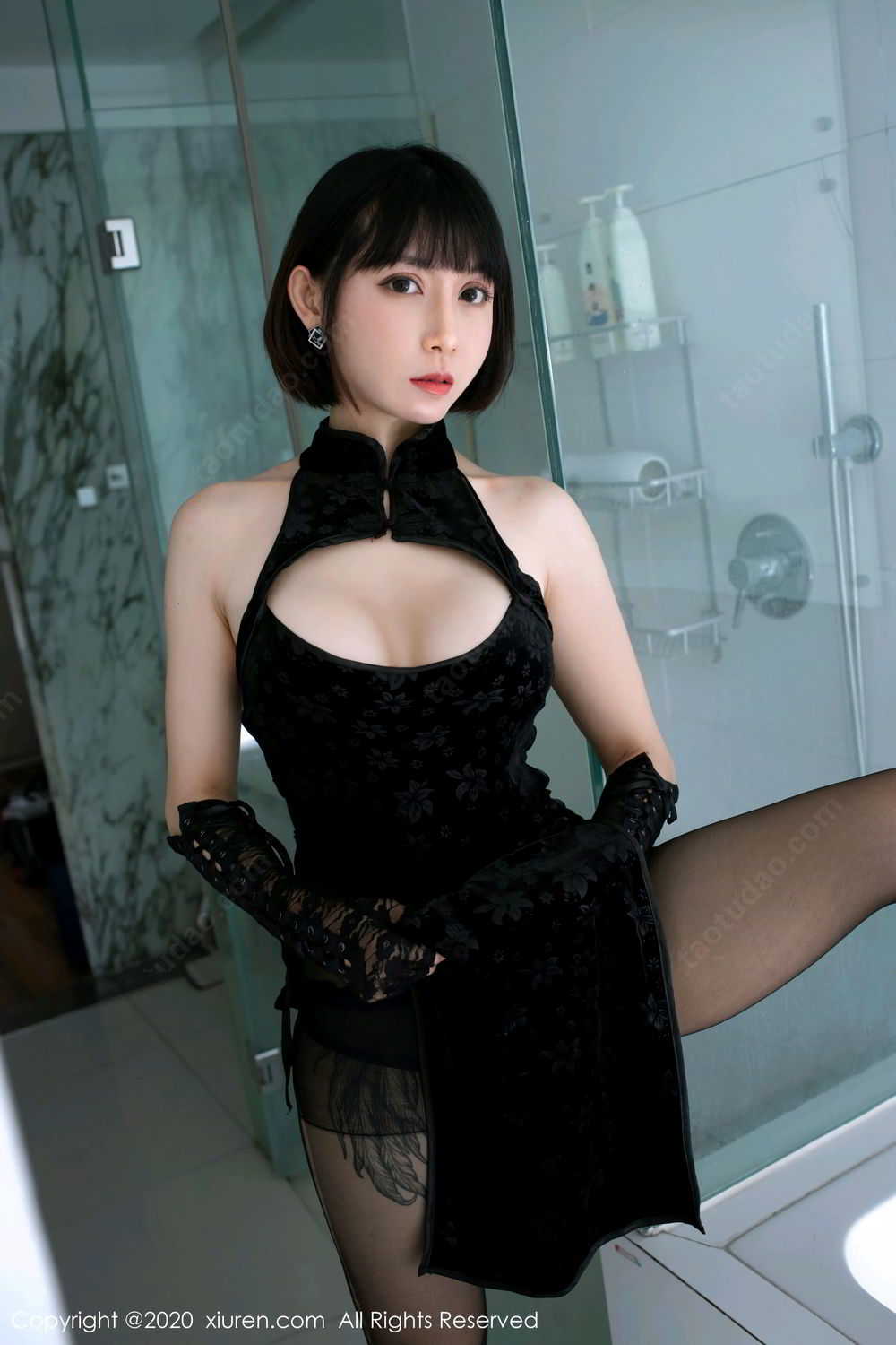 [XiuRen] Vol.2318 An Ni Si Duo La 18P, An Ni Si Duo La, Black Silk, Cheongsam, Xiuren