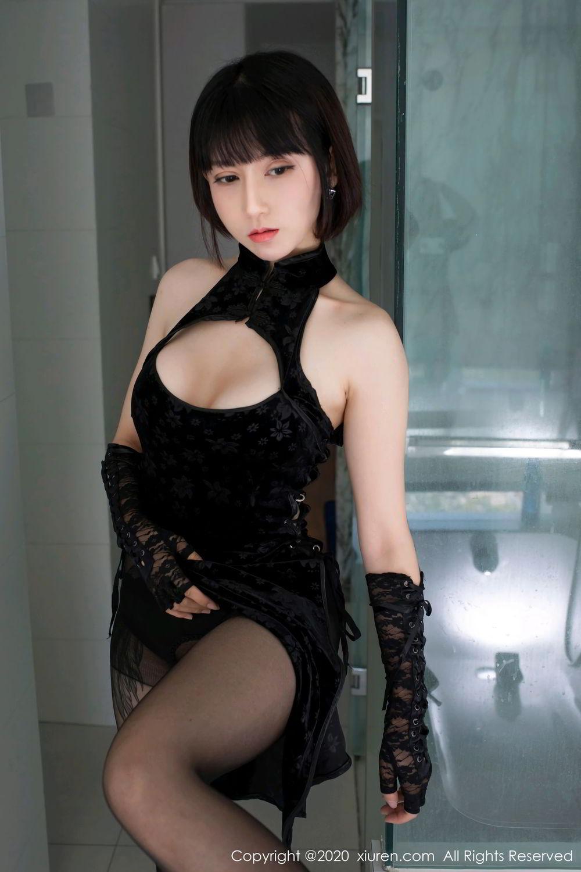 [XiuRen] Vol.2318 An Ni Si Duo La 19P, An Ni Si Duo La, Black Silk, Cheongsam, Xiuren