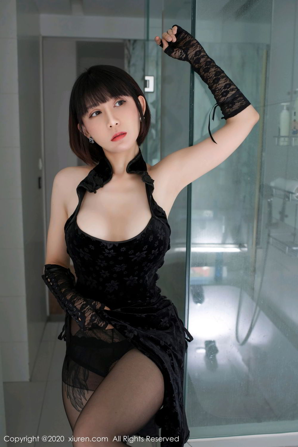 [XiuRen] Vol.2318 An Ni Si Duo La 20P, An Ni Si Duo La, Black Silk, Cheongsam, Xiuren