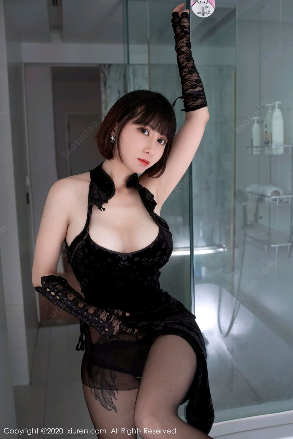 [XiuRen] Vol.2318 An Ni Si Duo La 21P, An Ni Si Duo La, Black Silk, Cheongsam, Xiuren