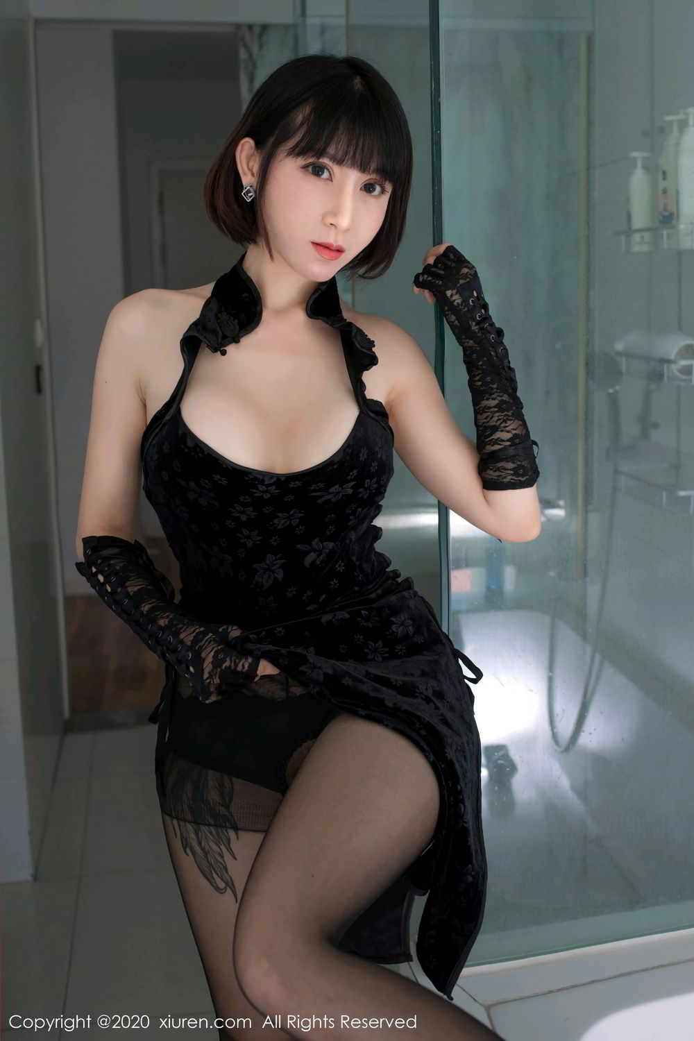 [XiuRen] Vol.2318 An Ni Si Duo La 22P, An Ni Si Duo La, Black Silk, Cheongsam, Xiuren