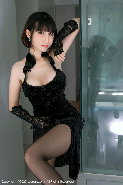 [XiuRen] Vol.2318 An Ni Si Duo La 24P, An Ni Si Duo La, Black Silk, Cheongsam, Xiuren