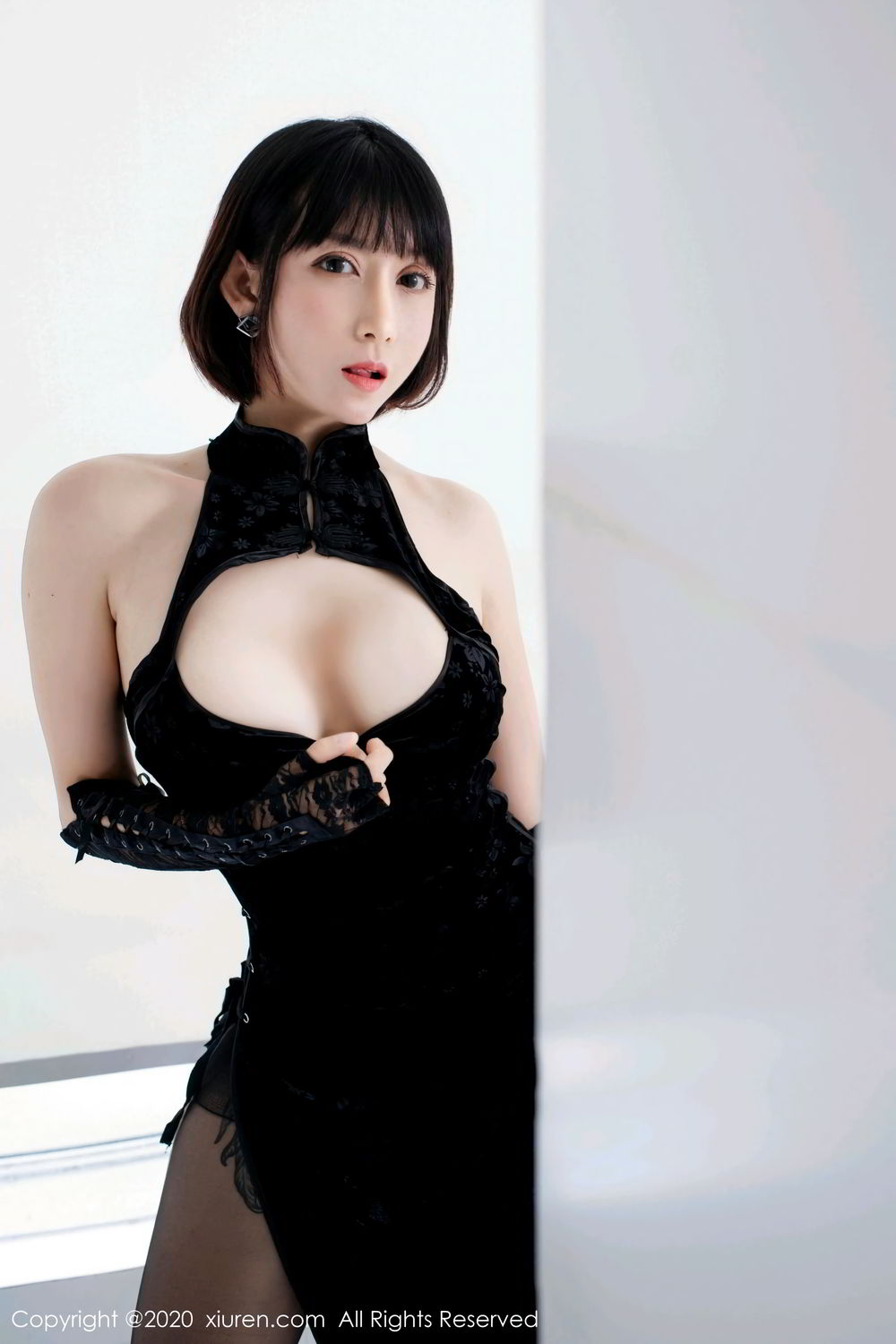 [XiuRen] Vol.2318 An Ni Si Duo La 2P, An Ni Si Duo La, Black Silk, Cheongsam, Xiuren