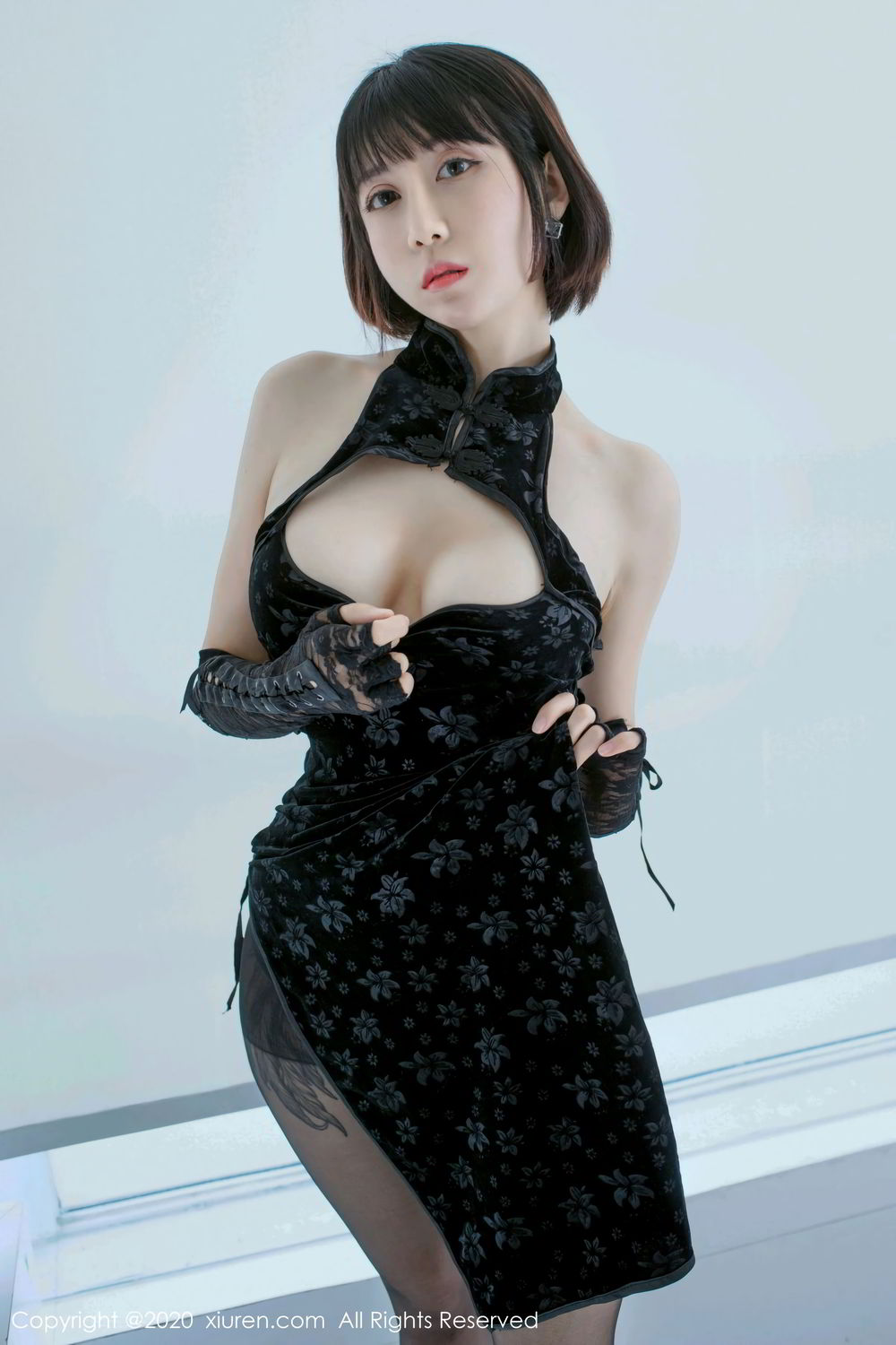 [XiuRen] Vol.2318 An Ni Si Duo La 3P, An Ni Si Duo La, Black Silk, Cheongsam, Xiuren