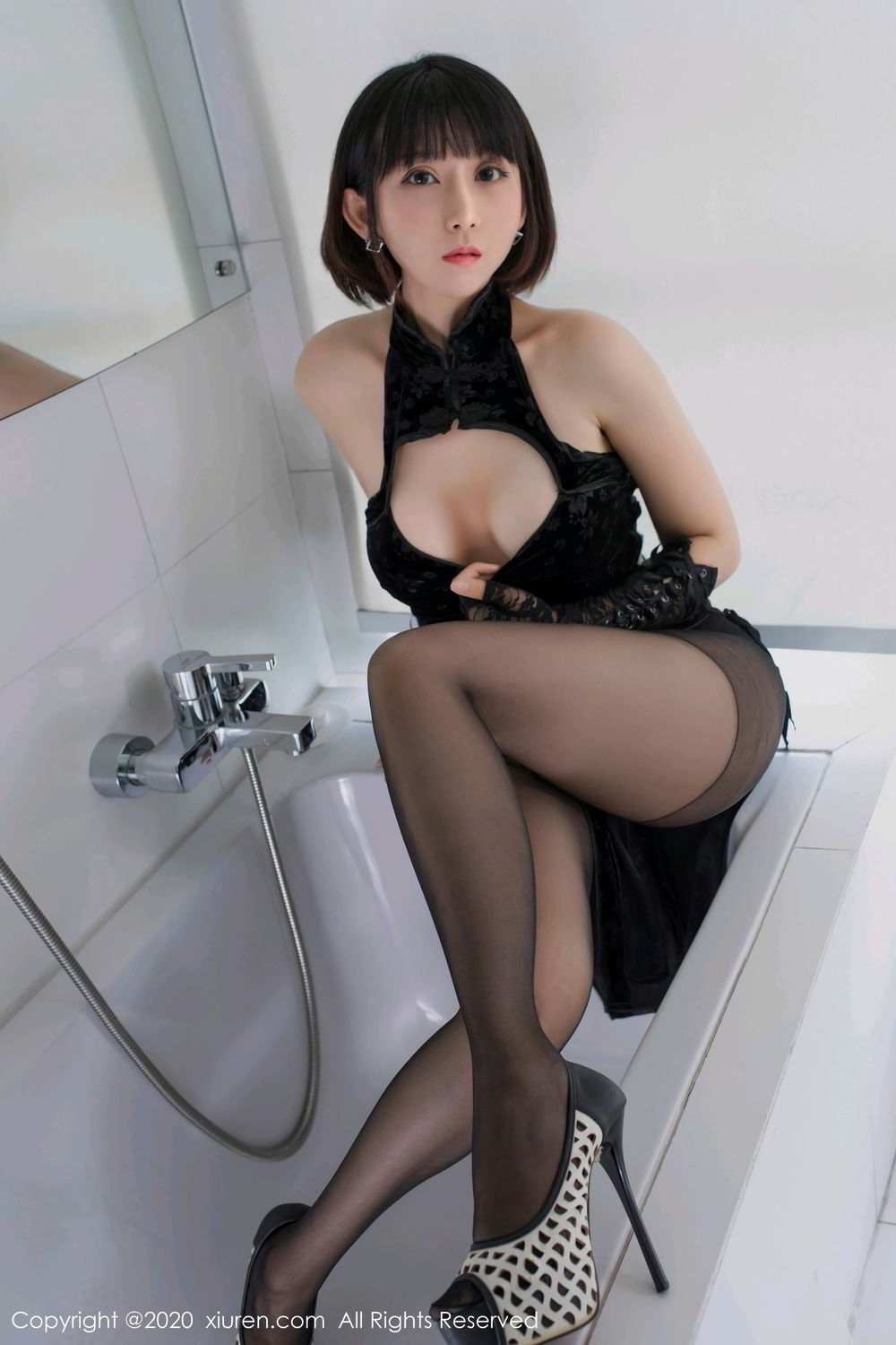 [XiuRen] Vol.2318 An Ni Si Duo La 7P, An Ni Si Duo La, Black Silk, Cheongsam, Xiuren