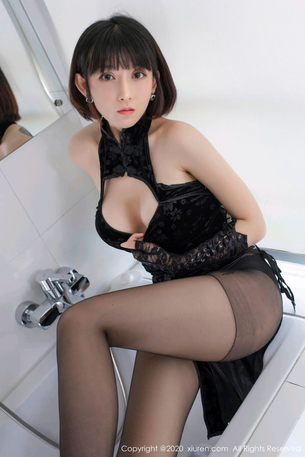 [XiuRen] Vol.2318 An Ni Si Duo La 8P, An Ni Si Duo La, Black Silk, Cheongsam, Xiuren