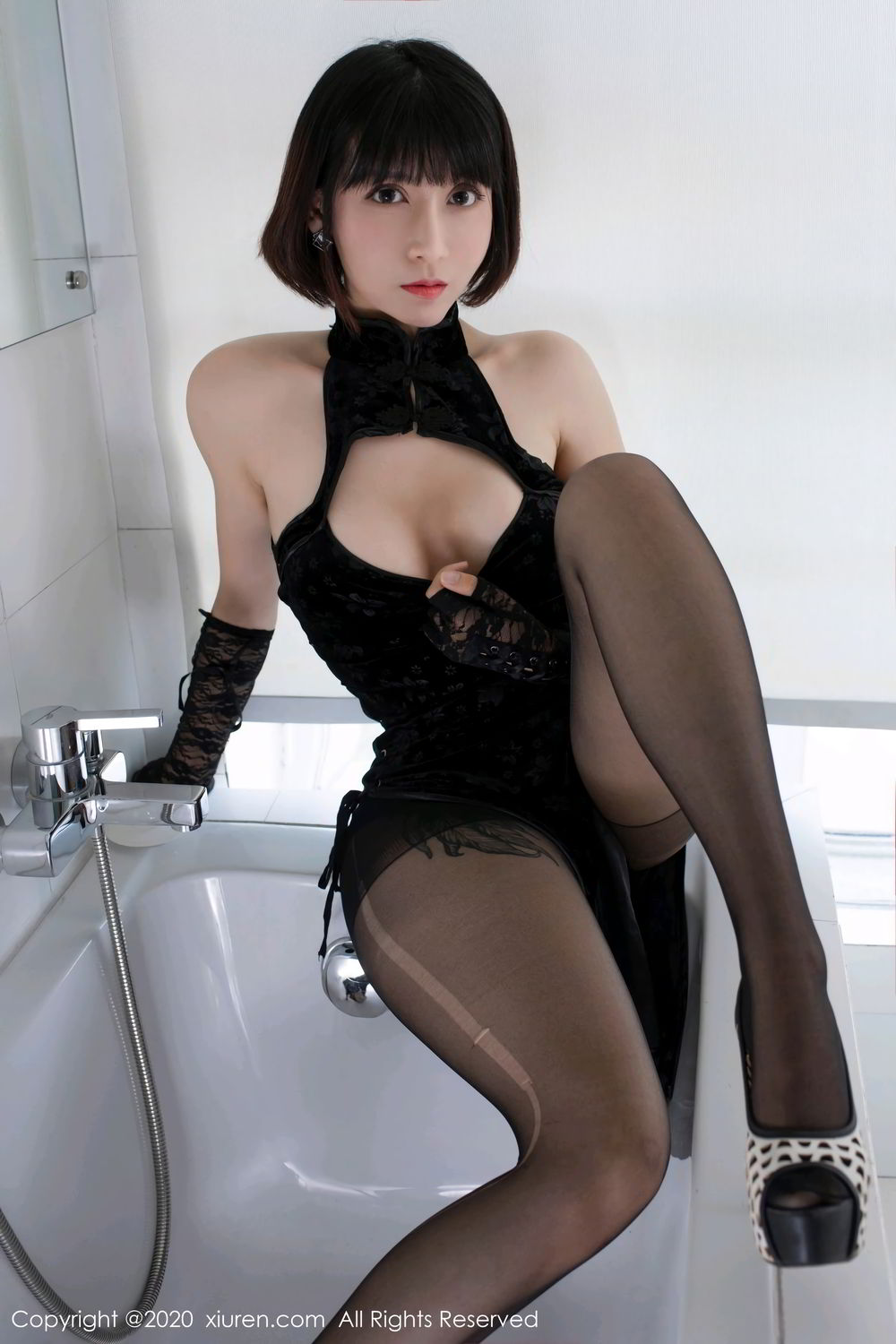 [XiuRen] Vol.2318 An Ni Si Duo La 9P, An Ni Si Duo La, Black Silk, Cheongsam, Xiuren