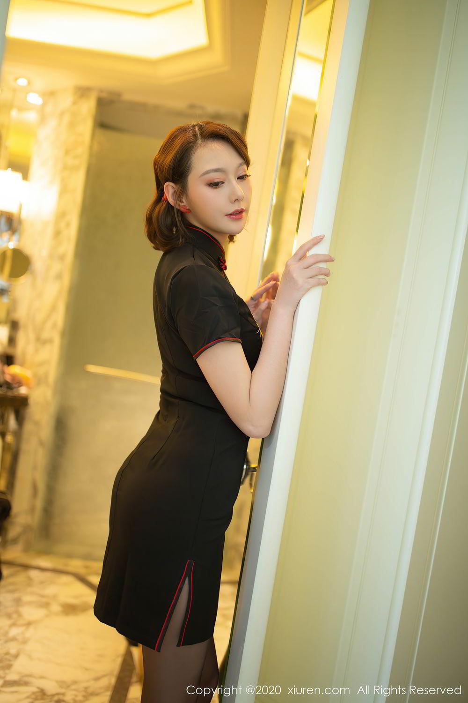 [XiuRen] Vol.2379 Yi Xuan 11P, Black Silk, Cheongsam, Fu Yi Xuan, Tall, Underwear, Xiuren