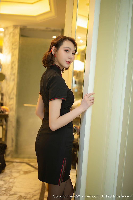 [XiuRen] Vol.2379 Yi Xuan 12P, Black Silk, Cheongsam, Fu Yi Xuan, Tall, Underwear, Xiuren