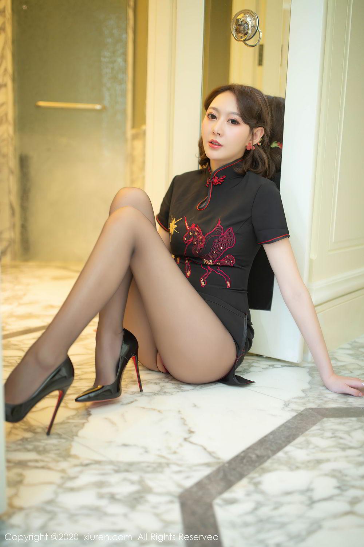 [XiuRen] Vol.2379 Yi Xuan 16P, Black Silk, Cheongsam, Fu Yi Xuan, Tall, Underwear, Xiuren