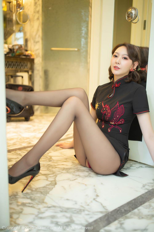 [XiuRen] Vol.2379 Yi Xuan 18P, Black Silk, Cheongsam, Fu Yi Xuan, Tall, Underwear, Xiuren