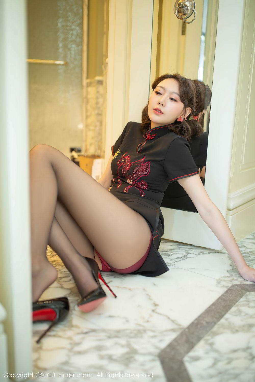 [XiuRen] Vol.2379 Yi Xuan 23P, Black Silk, Cheongsam, Fu Yi Xuan, Tall, Underwear, Xiuren