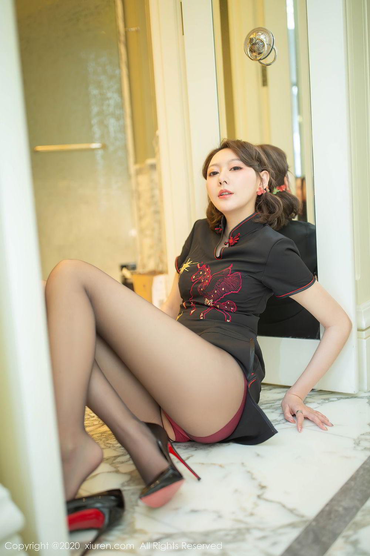 [XiuRen] Vol.2379 Yi Xuan 24P, Black Silk, Cheongsam, Fu Yi Xuan, Tall, Underwear, Xiuren