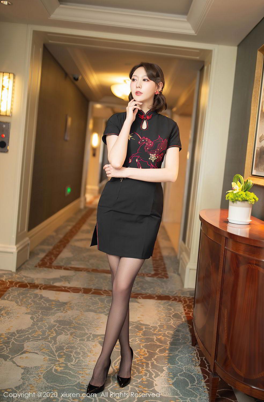 [XiuRen] Vol.2379 Yi Xuan 2P, Black Silk, Cheongsam, Fu Yi Xuan, Tall, Underwear, Xiuren