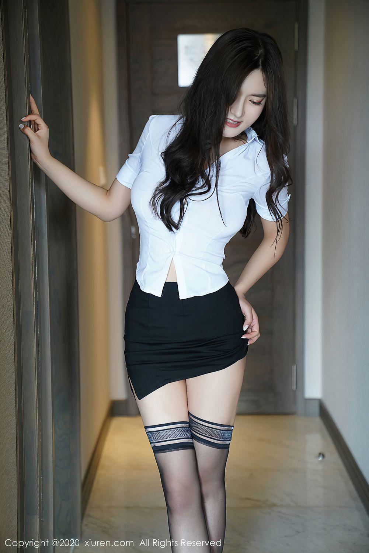 [XiuRen] Vol.2381 Bai Lu Xiao Zhu 1P, Bai Lu Xiao Zhu, Black Silk, Uniform, Xiuren