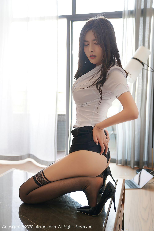 [XiuRen] Vol.2381 Bai Lu Xiao Zhu 20P, Bai Lu Xiao Zhu, Black Silk, Uniform, Xiuren