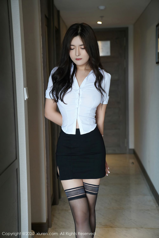 [XiuRen] Vol.2381 Bai Lu Xiao Zhu 2P, Bai Lu Xiao Zhu, Black Silk, Uniform, Xiuren