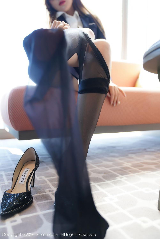 [XiuRen] Vol.2396 Chai Wan Yi 6P, Black Silk, Meng Han Yao, Underwear, Uniform, Xiuren