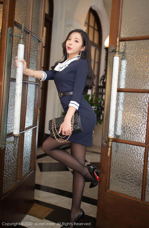[XiuRen] Vol.2401 Chen Xiao Miao 5P, Black Silk, Chen Xiao Miao, Underwear, Uniform, Xiuren