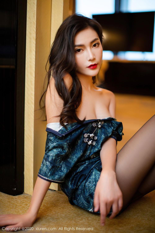 [XiuRen] Vol.2411 Xia Yue 14P, Black Silk, Cheongsam, Tall, Temperament, Xia Yue, Xiuren