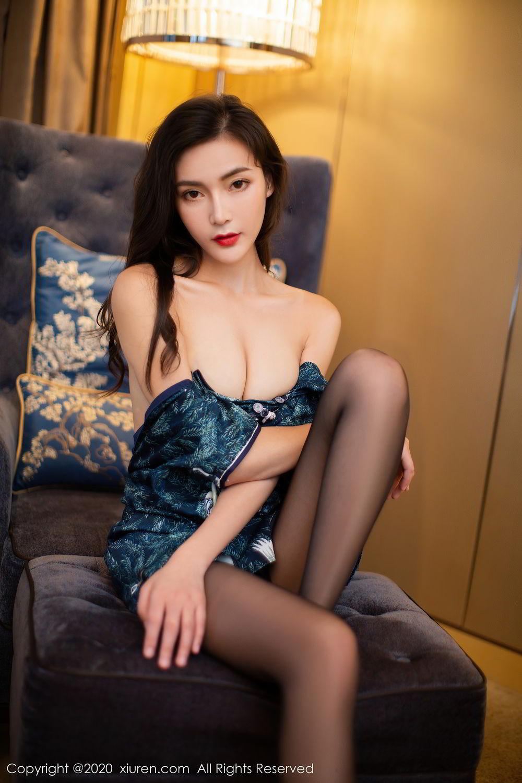[XiuRen] Vol.2411 Xia Yue 15P, Black Silk, Cheongsam, Tall, Temperament, Xia Yue, Xiuren